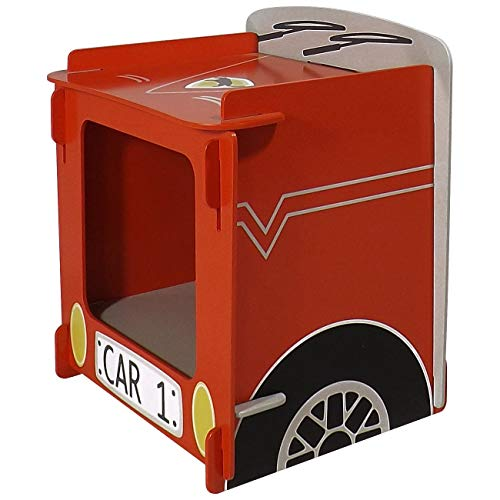 Kidsaw Ltd Racing Car, mesita de Noche, Madera, Rojo, 35x 29x 29cm