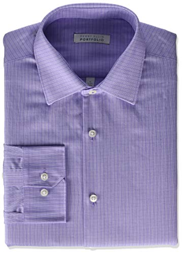 Perry Ellis - Camisa de Vestir para Hombre, Cuadros púrpura Claro, 16'-16.5' Cuello 34'-35' Manga