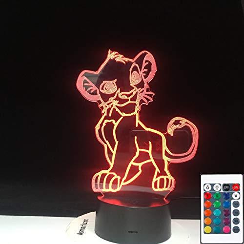 El Rey León Simba Novedad Navidad 3D LED Luz de noche Lámpara de mesa Decoración de noche Regalo para niños