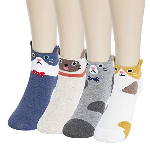 KONY Women's 4 Pack Cotton Cute Animal Designed Funny Novelty Cat Socks, Gift Idea For Teen Girls Size 6-9 (Ankle Cats - 4 Pairs)