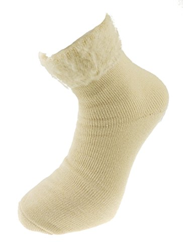Glamour Girlz Mens Soft und Cosy Soft Top Thermal Bett Socken Beige