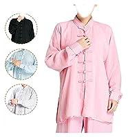 コージー太極拳の制服服モーニングトラックスーツの男性の新しい女性コットンとリネン長袖通気性のマーシャルアーツパフォーマンス、弾力んは縮小しません 1020 (Color : Pink, Size : Large)