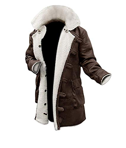 BlingSoul PU Mens Leather Jacket Long Swedish Winter Coat for Mens | [1600225] Bain PU Brown, XL