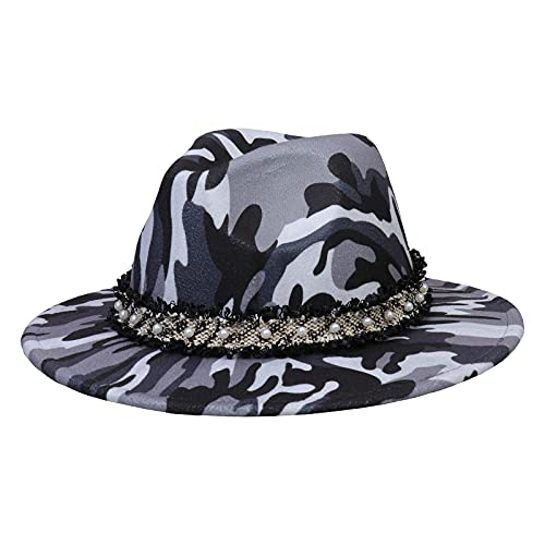 Jixin4you Hecho a mano para caballeros Indiana lana fieltro Fedora Trilby sombrero con banda ancha Panamá Cap 1920s Gatsby Hat, P: Camouflage Grey, Taille unique
