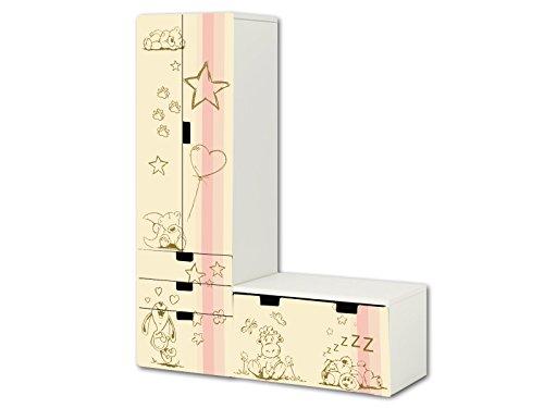 'Knuddelwelt' in beige / rosa Aufkleber-Set - SL17 - passend für die Kinderzimmer Aufbewahrungskombination STUVA von IKEA (L-Form) - Bestehend aus Schrank, Kommode mit 3 Fächern und Banktruhe - Möbel Nicht Inklusive | STIKKIPIX