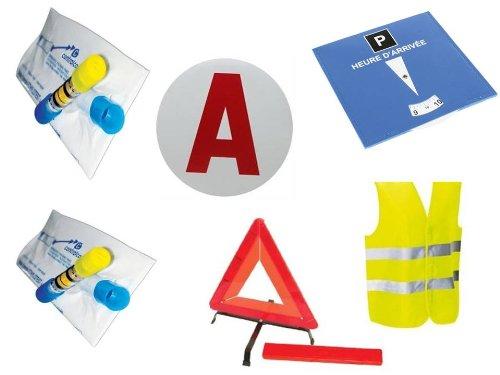 kit complet sécurité pour jeune conducteur : 2 éthylotests + 1 gilet + 1 disque A + 1 triangle + 1 disque de stationnement bleu