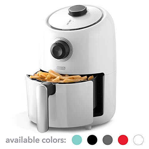 Dash DCAF150GBWH0 Compact Air Fryer Oven Cooker with Temperature Control, Non Stick Fry Basket, Recipe Guide + Auto Shut off Feature, 2qt, White