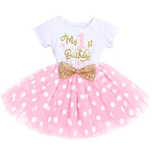 FYMNSI Baby Mädchen Mein 1. Erster Geburtstag Kleid Baumwolle Kurzarm Tutu Tüllkleid Gepunktet Rock Prinzessin 1 Jahr Partykleid Sommerkleid Outfit Rosa