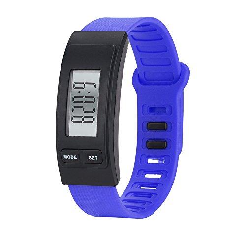 Toamen Correr Paso Reloj Pulsera PodóMetroContador De Calorias Reloj LCD Digital De Distancia A Pie (Azul)