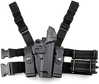 GexguneTactical Leg Holster Right Hand Paddle Thigh Belt Level 3 Lock Duty Pistol Gun Holster w/Magazine Torch Pouch