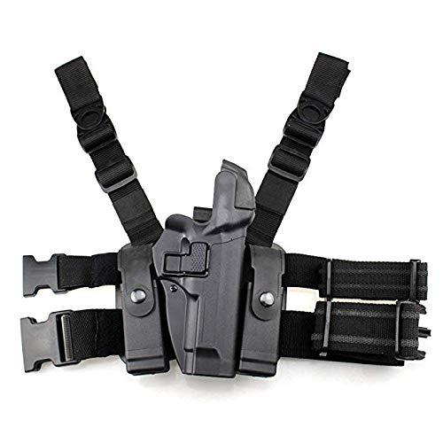 Gexgune Funda de Pierna táctica Paleta Derecha Cinturón de Muslo Nivel 3 Funda de Pistola de Servicio de Bloqueo con Linterna de Revista para Beretta 92/96 / M9 / M9A1 con o sin rieles