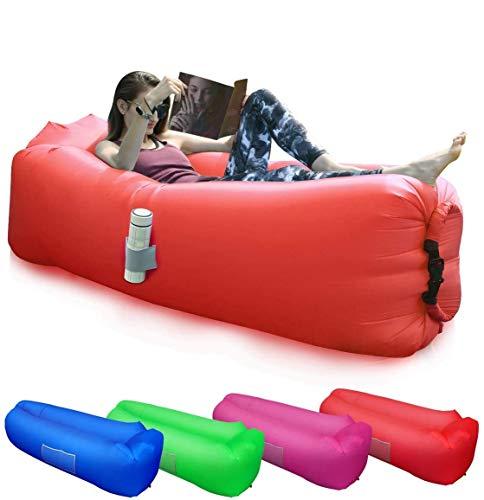 BACKTURE Aufblasbares Sofa, Tragbares wasserdichtes Lounger Schlafsack Seitentaschen Air Sofa Kissen Gartenfreizeit Schlafsack-kampierender Outdoor für Camping Wander, Schwimmbad- und Strandparties