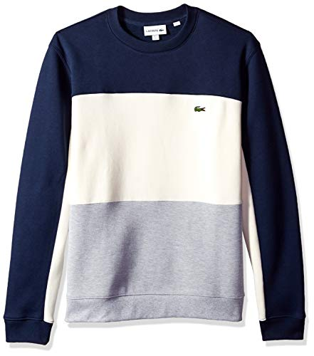 Lacoste Men's Long Sleeve Brushed Pique Fleece Colorblock Sweater, Silver Chine/geode/Navy Blue, 4X-Large