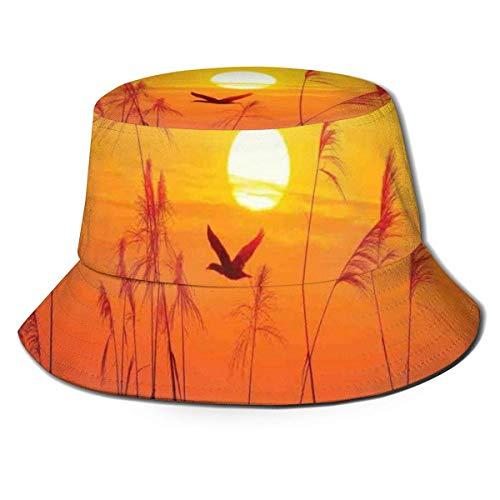 Henry Anthony Gorra de Pescador Unisex, Juncos contra la luz del Sol sobre el Cielo en la Puesta de Sol con la Imagen de la Fauna del Tema Flying Bird, Sombrero de Playa de Viaje