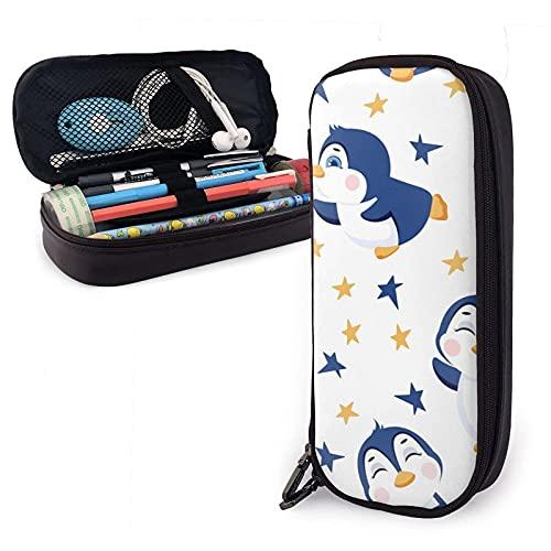 Mäppchen Kawaii Cute Penguins Birs Shiny Stars Leather Pencil Case Bag,Big Capacity Durable Zipper Pen Bag Box For Boys Girls Kids,Pencil Pouch Storage Makeup Cosmetic Bag School Suppl