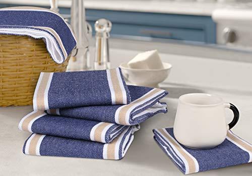 Dish Kitchen Towels,Kitchen Towels,Cotton Dish Towels,Bar Towels,Dish Towel For Drying Dishes,kitchen rag,farmhouse kitchen dishcloths sets,Waffle Stripe Kitchen Towel 18x28 inch Blue/Beige Set of 6