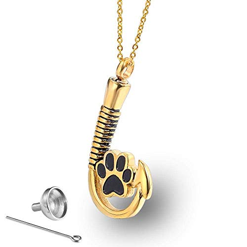 Stainless Steel Hook Pendant Dog Paw Print Perfume Bottle Casket Titanium Steel Men and Women Necklace Accessories Souvenirs