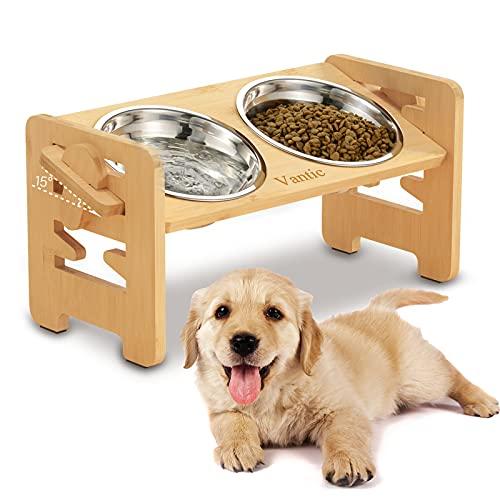 Vantic Hundenapf erhöht mit Ständer, Hundebar höhenverstellbar Futternapf für kleine Hunde und Katzen, haltbar Futterbar Futterstation Bambus mit 2 Edelstahlnäpfen und Rutschfesten Füßen