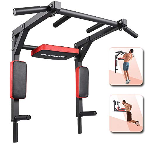 Pull Up Bar Wall Mounted Chin Up Dip Stand Power Tower Multifunctional Workout Equipment Exercise for Home Gym Strength Training Supports to 440lbs