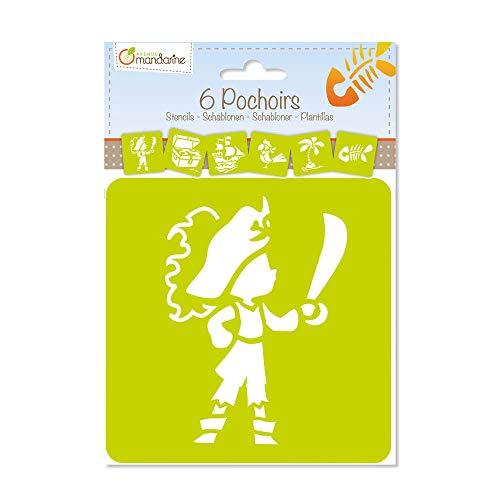 Avenue Mandarine 42837O Set (mit 6 Schablonen, 15 x 15 cm, geeignet für Kinder ab 3 Jahre, für Filz- und Farbstifte, Farben oder Farbbomben, Piraten) 6er Pack