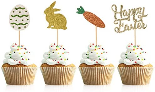 Donoter 48 Pieces Glitter Happy Easter Cupcake Toppers Bunny Egg Carrot Cupcake Picks for Spring product image