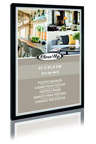 Close Up Posterrahmen 61 x 91,5 cm, Bilderrahmen aus MDF - Holzdekor - Holzoptik, Flat-Design, schwarz