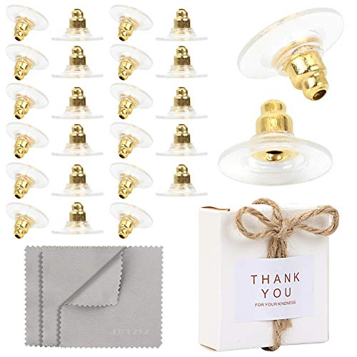 Premium Upgrade Soft Silicone Earring Backs, JJKKZVZ Earring Safety Backs Clear Bullet Eearring Backs (Gold Color Plated), 120 Pcs Earring Backs Stopper with Jewelry Cleaning Cloth