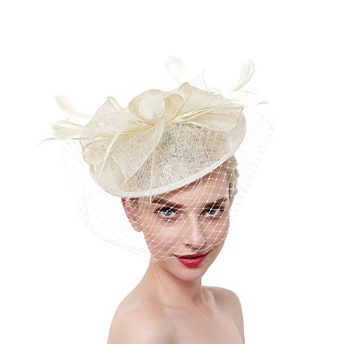 E-More Tocado Elegante Derby Sombrero Vintage Tocado Sombreros Malla Cambric Plumas Bowknot Banquete Boda Novia Velo...
