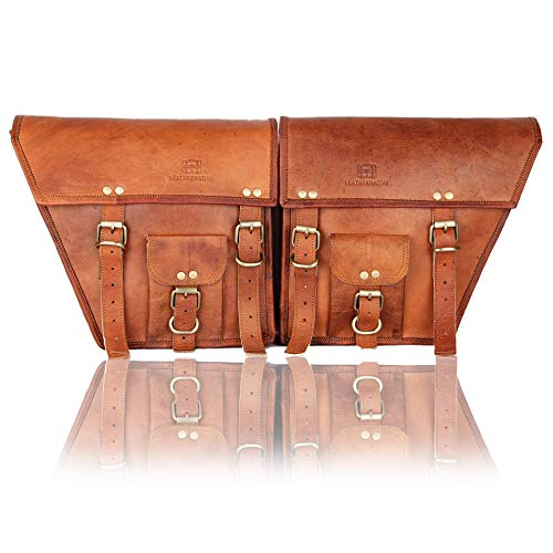 2 Brown Leather Pouch by Leather Native – Motorcycle Side Pouch for Men and Women – Waterproof Saddle Bag Panniers – Vintage and Modern Touring Bag