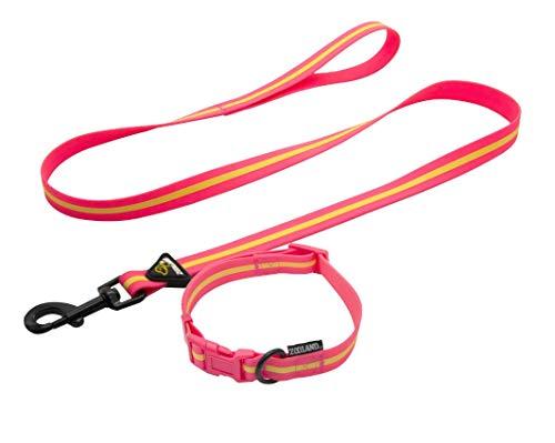 YSDTLX犬の首輪アンチロストライトペット牽引ロープセットサイズ犬、ローズレッド、26?36 cm