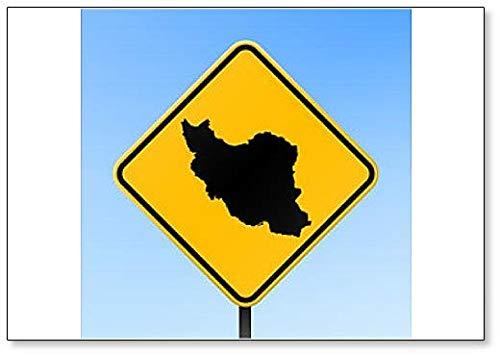Iran Map on Road Sign Illustration Koelkast Magneet