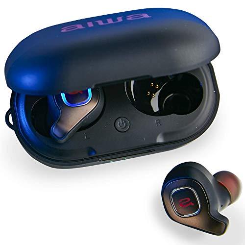 Aiwa Prodigy Air - Auriculares inalámbricos - Bluetooth 5.0-32 Horas de Tiempo de reproducción con Funda Recargable - Pares al Instante - IPX5 Resistente al Agua - Micrófono Integrado - Sonido HD