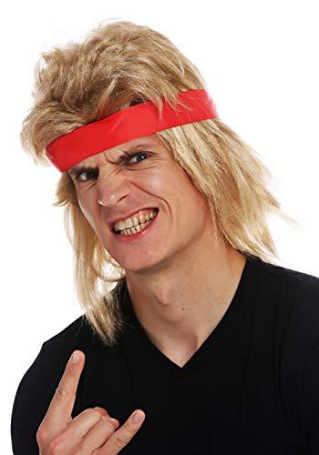 WIG ME UP - SARL002-FR7-02 Perücke Halloween Karneval Herren lang blond Vokuhila Stirnband 80er Actio-Star Wrestler