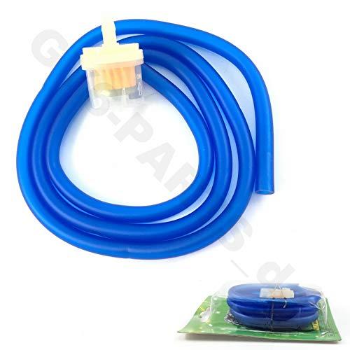 Benzine-slang in blauw transparant & benzinemotor m. magneet/gasaansluiting bijv. voor BAOTIAN HYOSUNG Jinlun REX RS YIBEN YIYING BENZHOU ZNEN KYMCO China Roller Quad ATV