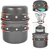 Juego de Utensilios de Camping al Aire Libre Que acampan escaladores Vajilla de Aluminio y aleación de Cuenco Pot Set de Cocina de Gas de Picnic Copa WKY