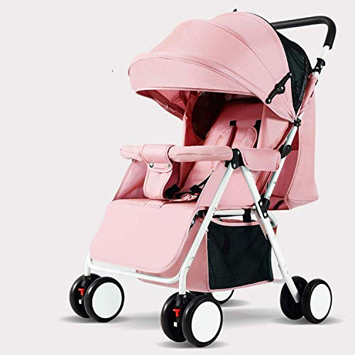 wxqym 0-3 años de Edad Baby Carriage Ultra Light and Convenient Plegable Poder Poder Sit Line Baby Four Seasons Disponible Tamaño Grande Carruaje de Cuatro Ruedas