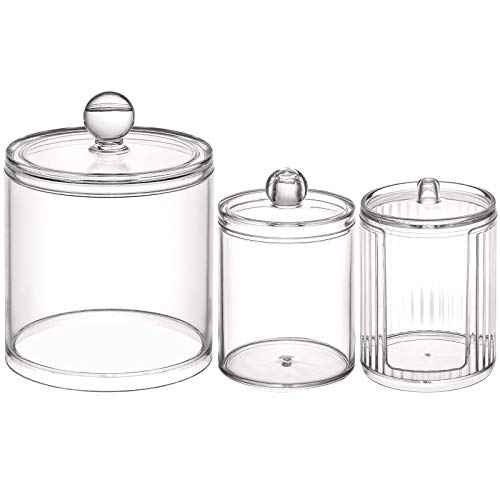 Tbestmax 10/20 Oz Cotton Swab Holder Qtip Apothecary Jar, Cotton Pad/Ball Dispenser Bathroom Containers for Storage 3 Pack
