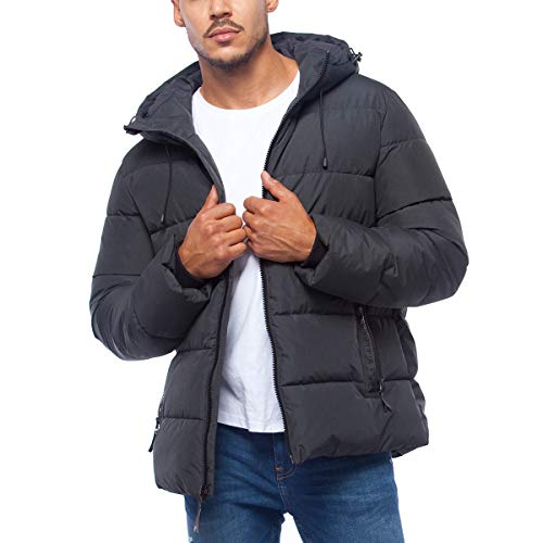 Rokka&Rolla Men's Heavyweight Quilted Puffer Jacket Winter Parka Coat with Thermal Heat Reflective Lining