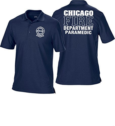 feuer1 Polo fonctionnel bleu marine, Chicago Fire Dept. Paramedic (blanc)