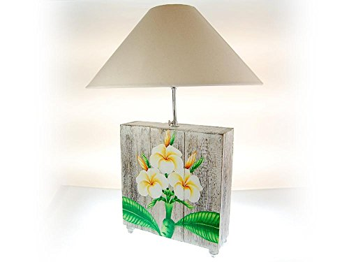 SEESTERN handbeschilderde tafellamp Frangipani motief houten lamp variabele 60-70 cm hoog/1639