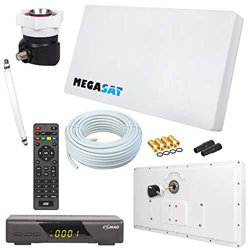 Megasat Flachantenne PROFI Line H30 D1 Single inkl. Fensterhalterung + HD Sat Receiver + 10m Kabel + 1x Fensterdurchführung. Neueste Generation mit besten Empfangswerten für HD und SD TV (einfache und stabile Montage)