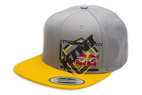 KINI Red Bull Slanted Cap – Trendige Snapback, Flexfit Kappe, Logo-Patch, Grafik Motiv-Cap, One Size, Größenverstellbar, Accessoires – Grey
