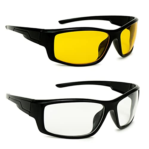 Modern HD Vision Day and Night Vision Goggles for Riding Bikes and Driving Sunglasses for Men Women Boys & Girls Combo of 2 White &Yellow
