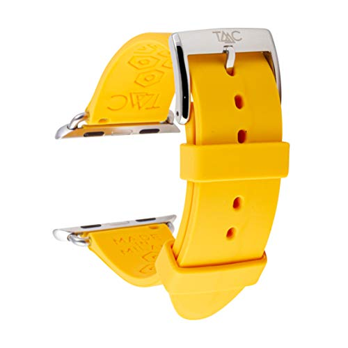 TAAC Cinturino Orologio per Apple Watch 42mm 44mm, Cinturino Silicone Medicale Anallergico Made in Italy Gomma Compatibile con Apple Watch Serie 5/4/3/2/1, Colore Banana Giallo