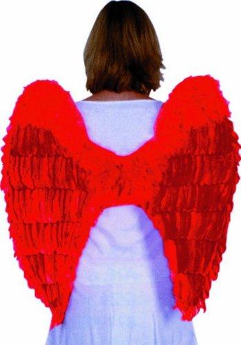 Guirca - Ailes avec plumes pour adultes, rouge, taille unique, 16265