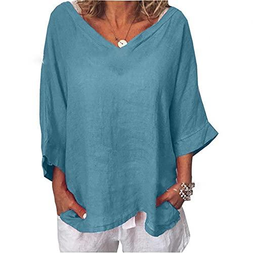 Camiseta Mujer Gran Tamaño Camisa Murciélago Suelta Grande Cuello V Top Mujer Lino Verano Mangas 3/4 Casual Cómodo Ligero Transpirable Mujer Top C-Blue S