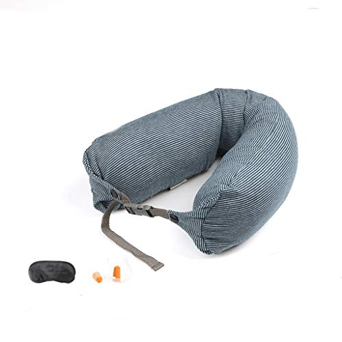 Travel Pillow, Memory Foam Pillow, Comfortabel ademend Cover - wasbaar in de machine, Vliegtuig Pillow Pak Met Eye Patch, Oordoppen (Color : 04)