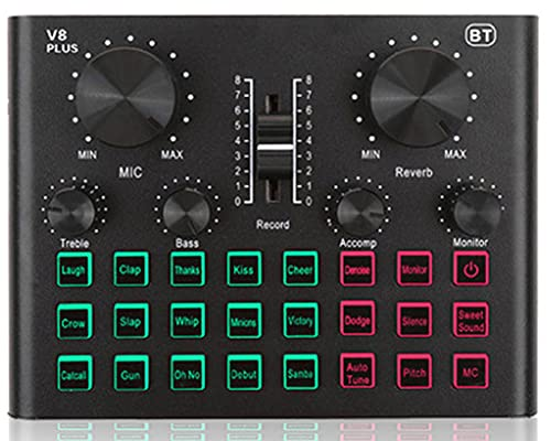XIRENZHANG Kit de micrófono condensador con tarjeta de sonido en vivo, brazo de tijera ajustable para grabación de estudio y tarjeta de sonido de radiodifusión