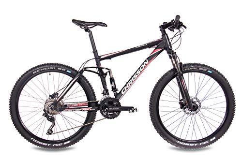 CHRISSON 27,5 Zoll Mountainbike Fully – Hitter FSF schwarz rot – Vollfederung Mountain Bike mit 30 Gang Shimano Deore Kettenschaltung – MTB Fahrrad für Herren und Damen mit Rock Shox Federgabel - 3
