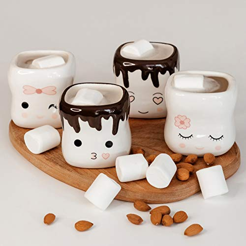 Marshmallow Mugs Set of 4 Cute Mugs Ceramic Cup Coffee Cup Kids Cocoa Hot Chocolate Milk Funny Mug Gift Anniversary Christmas Wedding Valentine's Day Mothers Day Gift